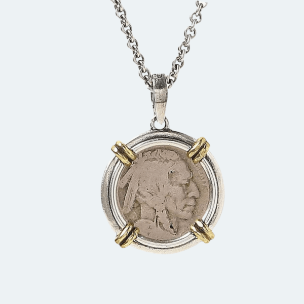 BUFFALO NICKEL PENDANT CHAIN NECKLACE WITH BRASS ACCENTS Preview Image