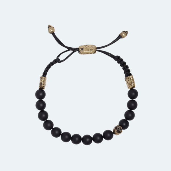ONXY BEAD ADJUSTABLE MENS BRACELET WITH BRASS SKULL Preview Image