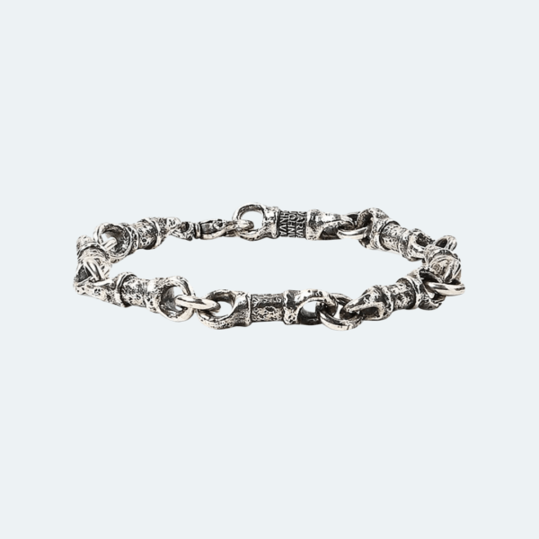 SILVER LINK HAMMERED MENS BRACELET Preview Image (Alt View)
